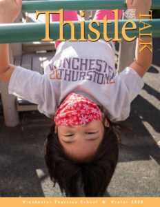 Student hanging upside down. Digital Thistle Cover Winter 2020