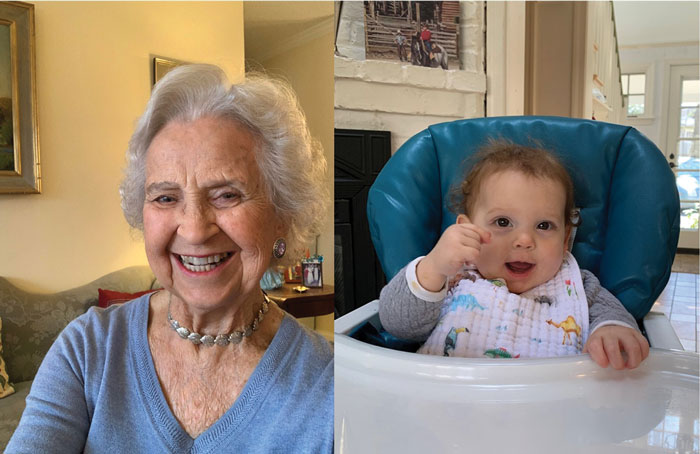Britta Ericson Chambers (L) with her great-granddaughter (R)