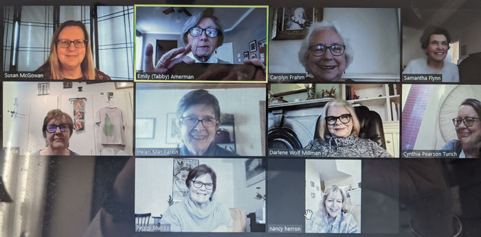 The Class of 1965 formed a Book Recommendation Group after their Virtual Reunion in 2020. Top Row: Susan McGowan '66, Emily 'Tabby' Amerman Vagnoni, Carolyn Slease Frahm, and Samantha Francis Flynn. Middle Row: Louise Geer Herman, Helen Mar Parkin, Darlene Wolf Millman, and Cynthia Pearson Turich. Bottom Row: Margaret 'Peggy' Stubbs, and Nancy Herron.